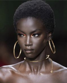 anokyai mona_tougaard and shanellenyasiase for versace Dark Skin Beauty, Hair Beauty, Black Beauty, Natural Beauty, Beauty Makeup, Black Girl Magic, Black Girls, Black Girl Aesthetic, Aesthetic Beauty