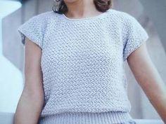 Para-Mujer-Sueter-Crochet-Patron-Sueter-De-Cuello-Redondo-Tallas-S-M-L