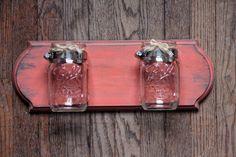 Shabby Chic  Mason Jar Wall Shelf Storage - Salmon and Teal via Etsy.