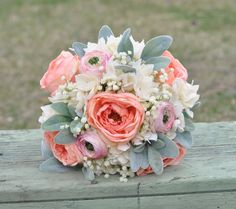 Silk Wedding Bouquet made with Coral Roses by Hollysflowershoppe
