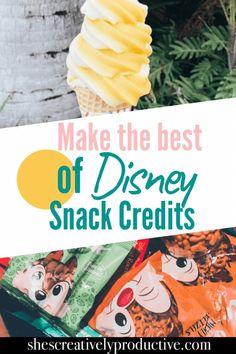 Disney Snack Credits - Tips & Tricks - She's Creatively Productive Best Disney World Restaurants, Disney World Food, Disney World Planning, Walt Disney World Vacations, Disney Worlds, Disney Snacks, Disney World Tips And Tricks, Disney Tips, Disney On A Budget
