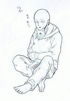 One Punch Man - Saitama and Kitty One Punch Man 3, One Punch Man Funny, Saitama One Punch Man, Saitama Sensei, Manga, Dragon Ball, Otaku, Anime One, Anime Style