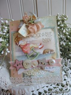 shabby baby card-rock a bye baby SWEET LITTLE BABY handmade card. $8.75, via Etsy.