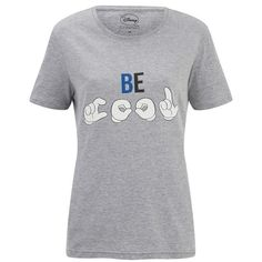 Eleven Paris x Disney Women's Be Cool T-Shirt ($57) ❤ liked on Polyvore featuring tops, t-shirts, grey, crew neck t shirt, crew neck tee, print tees, pattern t shirts e gray t shirt