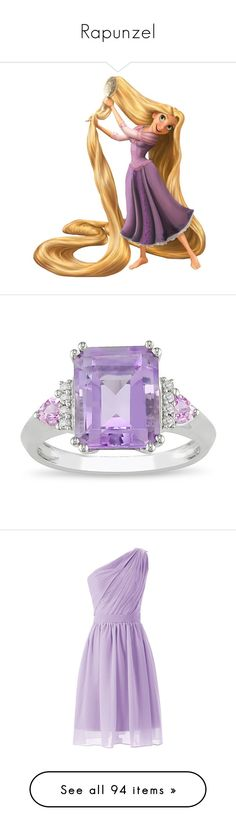 """Rapunzel"" by carissa-chaos ❤ liked on Polyvore featuring jewelry, rings, rapunzel, women's accessories, ice ring, amethyst diamond ring, white gold diamond ring, amethyst jewellery, white gold pink sapphire ring and dresses"