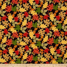 Kanvas Fall Festival Leaf Festival Black from @fabricdotcom  Designed by Greta Lynn for Kanvas in association with Benartex, this cotton print fabric is perfect for quilting, apparel, and home decor accents. Colors include white, red, orange, shades of green, teal, and black.