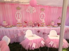 1st birthday party decorations princess twincess birthday theme - tutu high chair decorations with name banners! I had fun making these.
