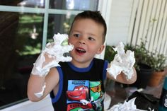 Shaving cream + trash bag = hours of fun!