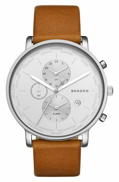 Main Image - Skagen Hagen Chronograph Leather Strap Watch, 42mm