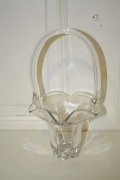 "Clear glass basket vase measures approx: 10 1/4"" x 6"" x 5"" MINT no markings $15.50"