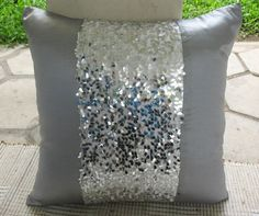 Silver gray sequin embellished accent cushion and throw pillow 18 inch | comfyheaven - Housewares on ArtFire