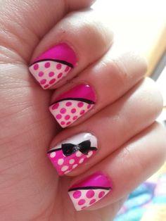 Pink and White with Negative Nail, Black Ribbons and Bow. ♥ (Nail Art by Melesa)