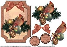 Cardinal Baubles And Pine Leaves on Craftsuprint designed by June Harrop - Lovely shaped card front which can be placed onto a card blank as is or can be cut to the shape.Simple to make but very effective. - Now available for download!