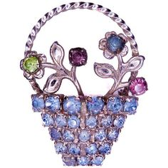 Vintage COSTUME JEWELRY Pin Brooch 1930s Basket of FLOWERS Rhinestone... ($17) ❤ liked on Polyvore featuring jewelry, brooches, rhinestone pins brooches, costume jewellery, vintage pins brooches, vintage flower brooch and vintage jewellery