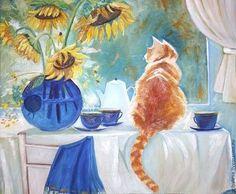 Животные ручной работы. Ярмарка Мастеров - ручная работа. Купить Картина маслом Теплая кошка (повтор) 40 на 50 см. Handmade.