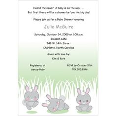 """Baby Shower Invitations: """" #Honey #Bunnies"""" features three adorable bunnies in different cute poses - hopping with joy, sleeping peacefully, and staring curiously...."""