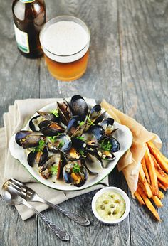 Beer-Braised Mussels with Belgian Fries - LexiBites.com