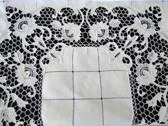 Maria Niforos - Fine Antique Lace, Linens & Textiles : Antique Linen # LI-303 Lovely Linen Tablecloth w/ Needlepoint Lace