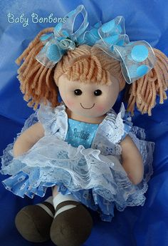 Personalized Chanuka Doll dressed in Vintage blue by Babybonbons