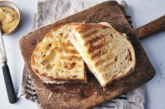 Ham and Cheese Panini   King Arthur Baking: A grilled sandwich packed with ham and melting cheese. Ham And Cheese Panini Recipe, Panini Recipes, Cafe Recipes, Grill Panini, Grilled Sandwich, Slice Of Bread, Cafe Food, King Arthur, Melted Cheese