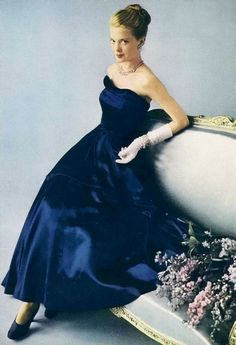 Sapphire blue strapless satin evening gown, 1948