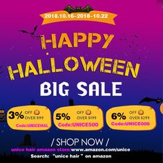 The big sale of ......🎃Happy Halloween🎃 ..............on UNice Amazon website😉 😉Are your ready for the Halloween party?😊 #unicehair #hairstyles #halloween #beauty #fashion #sale #bigsales #halloweensale #bundlehair #fashion #party #halloweenmakeup Halloween Sale, Halloween Make Up, Halloween Party, Unice Hair, Hair Weft, Amazon Website, Design Department, Hair Quality, Fashion Sale