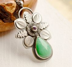 Silver Chrysoprase Necklace Botanical Silver by EONDesignJewelry