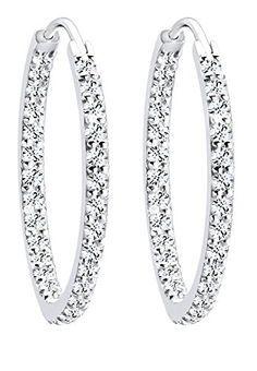 Elli Damen-Creolen 925 Sterlingsilber mit Kristallen von Swarovski 0303670612