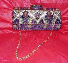 100% Authentic JUDITH LEIBER Multi-color Crystal Clutch Shoulder Bag NEW #JudithLeiber #ClutchShoulderBag