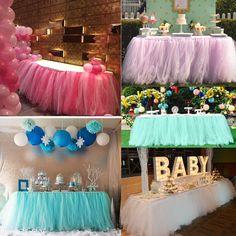 $11.28 - Wedding Party Tulle Tutu Table Skirt Tableware Birthday Baby Shower Xmas Decor #ebay #Home & Garden