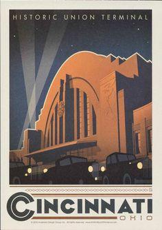 Cincinnati, Ohio, Historic, Union Terminal, Travel Poster Style Postcard by markopostcards on Etsy Cincinnati Skyline, Vintage Travel Posters, Us Travel, Digital Illustration, Pallets, Vintage Art, Ephemera, Ohio, Nerd