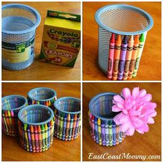 SO easy!  Just use a dollar store pen holder and a glue gun and crayons!  Neat teacher gift or party favour!