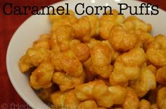 Caramel Corn Puffs - Crispy, buttery, melt in your mouth. Make your very own batch or share with friends! Yummy Snacks, Delicious Desserts, Yummy Food, Appetizer Dips, Appetizer Recipes, Crazy Kitchen, Kitchen Tips, Puffed Corn Recipes, Christmas Crunch