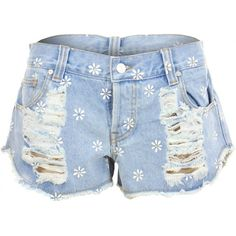 MINKPINK Sweet Daisy Destroyed Denim Shorts (135 BRL) ❤ liked on Polyvore featuring shorts, bottoms, torn jean shorts, destroyed jean shorts, destroyed shorts, minkpink shorts and retro shorts