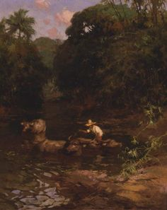 Washing the carabo by Fernando Amorsolo, 1928, oil on Board. At the end of the work day, the farmers take the carabao to the water for washing and feeding.