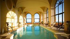Indoor pool overlooking the Tyrrhenian Sea at La Posta Vecchia hotel, near Rome in Lazio, Italy. http://www.kiwicollection.com/hotel-detail/la-posta-vecchia