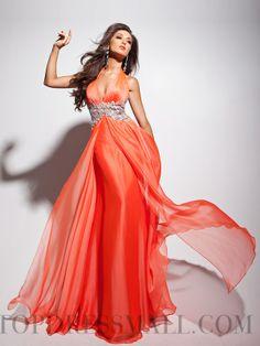 2014 Attractive V-neck A-line Beading Chiffon Evening Dresses : topdressmall.com