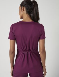 Cinched V-Neck Top in Wine is a contemporary addition to women's medical scrub outfits. Shop Jaanuu for scrubs, lab coats and other medical apparel. Stylish Scrubs, Scrubs Outfit, Cute Scrubs, Medical Uniforms, Womens Scrubs, Medical Scrubs, Scrub Tops, V Neck Tops, Guernica