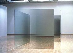 "6x6x4-A,B,1995, four 12mm glass panels with nickel-chrome, 6' x 6' x 1/2"" Installation: Kjarvalsstadir Museum, Reykjavik, Iceland 1997"