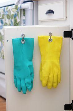 DIY: add grommets to rubber gloves for under sink organization
