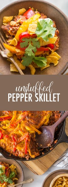 This Unstuffed Pepper Skillet recipe checks all the boxes - tasty, filling, easy, and made all in one skillet! Your family will LOVE it! Mexican Food Recipes, Healthy Recipes, Ww Recipes, Healthy Foods, Beef Casserole, Casserole Recipes, Unstuffed Peppers, Pork And Beef Recipe, One Skillet Meals