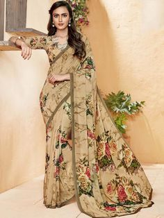 Gracious cream party wear georgette printed saree. Having fabric georgette. The print work seems chic and great for any party. Comes with matching blouse. #mydesiwear #onlineshop #sarees #womenstyle #womenfashion #festivewear #partywear #fashion #ethnicwear #ceremonywear #weddingfashion #weddingseason #indianwedding #weddingbeauty #weddingsarees #georgette #weddingfestival #weddingtrendz #stylewedding #bridetobe #bridelook