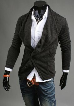 Mens Casual Slim Fit Top Designed Fashion Coat Cardigan Sweater Jumpers 4Colors on Etsy, $37.32