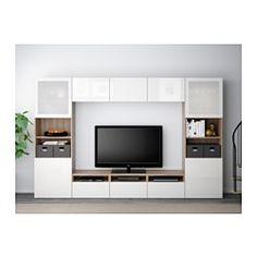 IKEA - BESTÅ, Alm TV, efecto nogal tinte gris/Selsviken alto brillo/vidrioesmerilbl, riel para cajón con cierre suave, , Las puertas y cajones llevan un sistema integrado para abrir/cerrar suave y silenciosamente.Esta combinación te ofrece mucho almacenaje y facilita mantener en orden el salón.Es fácil tener  los cables del TV y otros dispositivos ocultos pero a mano, gracias a las aberturas de la parte de atrás del mueble de TV.Si no quieres que se vean los cables, pásalos por el agujero…