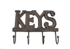 Cast Iron Key Hanger / Wall Hook / Decor - Hand Crafted, Recycled, Home Organization Gift Idea