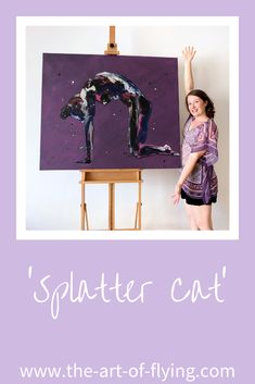 'Splatter Cat' is a predominantly purple resin and acrylic figure painting on a very large canvas. This yoga art depicts a yogi in cat pose or from the cat cow sequence Love Painting, Figure Painting, Resin Paintings, Cat Pose, Yoga Art, Large Canvas, Yoga Retreat, New Artists, Figurative