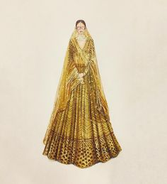 "A N O O P B A R W A on Instagram: ""SABYASACHI MUKHERJEE @sabyasachiofficial @bridesofsabyasachi @sabyasachijewelry #sabyasachi #sabyasachijewelry #bridesofsabyasachi #indian…"" Dress Design Drawing, Dress Design Sketches, Fashion Design Sketchbook, Fashion Design Portfolio, Fashion Design Drawings, Fashion Sketches, Fashion Illustration Tutorial, Dress Illustration, Fashion Illustration Dresses"