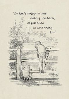 We didn't notice we made memories … Winnie the Pooh Quotes – classic vintage style poster print # 117 – high quality digital print based on illustrations for the book Winnie the Pooh. Cute Quotes, Words Quotes, Funny Quotes, Short Quotes, Qoutes, Moon Quotes, Bff Quotes, Friend Quotes, Citation Souvenir