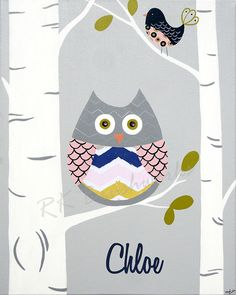 Childrens Art Print -Chloe Chevron Owl 8x10 - personalized childrens art girl bird wall decor nursery birch trees