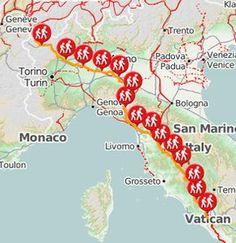 mappa della via francigena